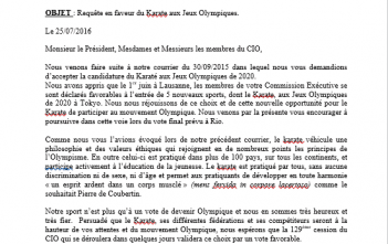 Open letter to the IOC for the entry of Karate at the Olympic Games