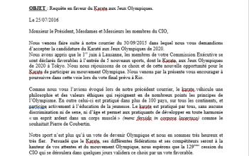 Lettre ouverte au CIO pour l'entrée du Karate aux Jeux Olympiques