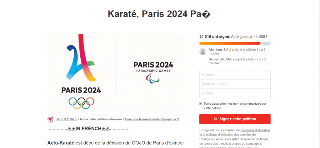 Petition for Karate at the Paris Olympics 2024